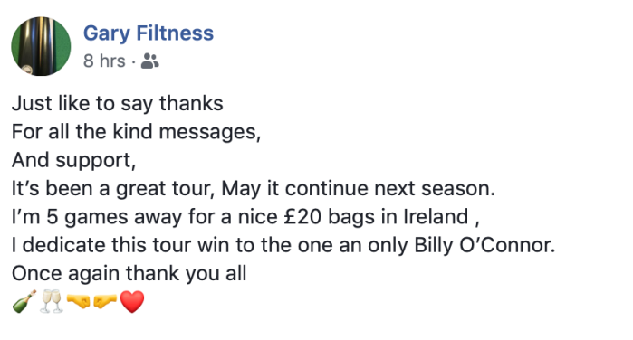 Gary Filtness tribute to Billy O'Connor